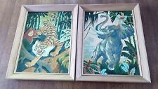 2 WELL DONE VINTAGE FRAMED PAINT BY NUMBERS PAINTINGS,TIGER & CHARGING ELEPHANT