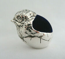 Chick in Egg Hatching Sewing Pin Cushion ~ Silver Plate