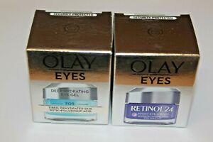 OLAY EYES Retinol 24 Night Eye Cream + Deep Hydrating Eye Gel - New