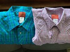 Lot of 2 Rustler Western Mens XXL Shirt Short Sleeve Plaid Pearl Snap Long Tails