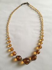 Graduated Beads Necklace 1930's - 40s Beautiful Deco Vintage Faceted Amber Glass