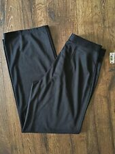 NWT Max Studio Flat-Front Dress Pants Wide Leg Black Knit Sz. 6 Poly/Rayon