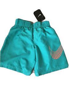 Nike Boys Swim Trunks Style # NESS7694 TEAL / Orange Nike Logo NWT *Size 4