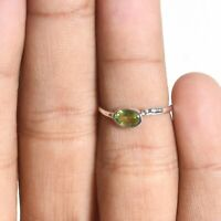 Valentine Gift Peridot Handmade Jewelry Sterling Silver Solitaire Ring Size 5