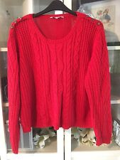 750 Peacocks Sz XL 18/20 Xmas Red Chunky Cable Knit Jumper Military Buttons