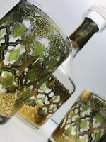 Vintage Culver Glass Valencia Decanter 2 Rocks Cocktail Glasses Green Gold