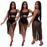 Women Mesh Patchwork Scoop Neck Sleeveless Hollow Out Bodycon Clubwear Dress 2pc
