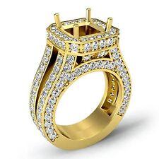 Semi Mount 2.52Ct Diamond Engagement Halo Pave Princess Cut Ring 18k Yellow Gold