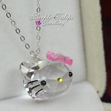 Hello Kitty Stamped-925-Sterling-Silver Necklace MadeWith Swarovski Crystal