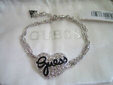 GUESS JEWELLERY PAVE HEART CHARM BRACELET UBB81101 BNWT