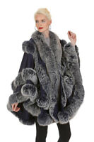 Womens Navy Blue Cashmere Cape with Frost Fox Fur Trim - Empress Style