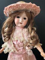 """Antique German 19"""" C.M. Bergmann Waltershausen Bisque Head Doll"""