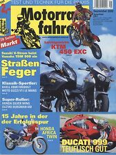 Motociclisti 9/02 2002 BUELL xb9r Firebolt DUCATI 999 KTM 450 EXC YAMAHA TDM
