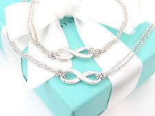 Tiffany & Co Silver Infinity Necklace Bracelet Set Box Pouch Card MSRP $450