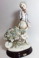"GIUSEPPE ARMANI FLOWER CART FIGURINE 1983 CAPODIMONTE SIGN 0468C  MADE ITALY 10"""