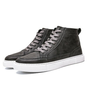 Mens Casual High Top Lace Up Walking Sneakers Outdoor Sports Board Shoes Flats