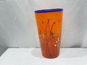 UNIQUE Chris Pantano Signed Hand Made Orange Glass Art Vase