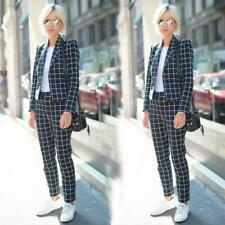 Plaid Check 2 Pieces Blue Ladies Office Tuxedos Formal Work Wear For Wedding