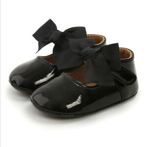 Baby Girl Bow Anti-slip Leather Christening Pram Shoes Soft Sole Toddler Sneaker