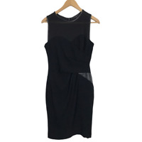 Coast Size 10 Black Sleeveless Faux Leather Trim Occasion Party Sheath Dress
