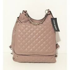 Steve Madden BGIGI Mauve Quilted Leather with Silver Chain Backpack Bag New