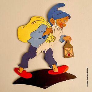 1940er Mertenskunst: Handgemalter Sandmann 23cm Wand-Figur Blau Laterne Zwerg