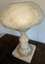 Gorgeous Art Deco Art Nouveau Nude Boys Children Carved Marble Alabaster Lamp