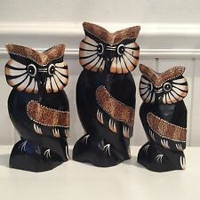SET OF 3 TIMBER OWLS