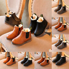 Kids Boy Girl Leather Ankle Winter Chelsea Boots Cotton Formal Shoes Size