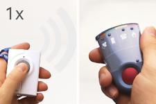 Personenruf -System: 1 Rufknopf  und 1 Taschenvibrator-Empfänger