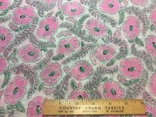Vintage Cotton Organdy Dimity Fabric 40s PRETTY Pink Floral 38w 1yd