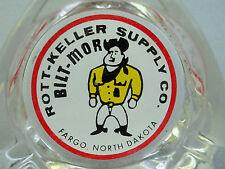 Ashtray Glass 3.5in Advertising Rott-Keller Supply Bilt-Mor Fargo ND Cowboy Logo