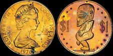 1976 COOK ISLANDS ONE DOLLAR COLOR TONED COIN IN HIGH GRADE !!!