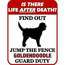 is There Death? Jump The Fence Goldendoodle Guard Duty Dog Sign Sp948