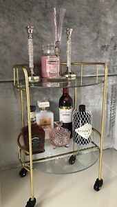 Home Collections 2 Tier Round Drinks Trolley Art Deco Gold NEW Gin Bar