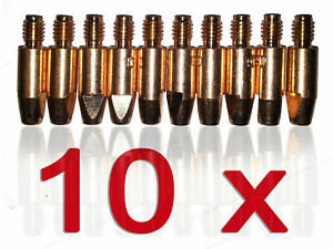 10 x MB25 MB26 MB36 Abicor Binzel Contact Welding Tip Nozzle M8x30 1mm Wire Ø