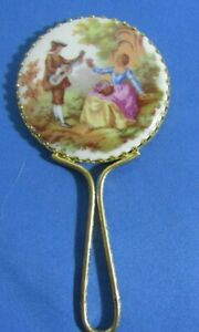 Vintage Limoges Fragonard Porcelain Courting Couple Hand Held Mirror
