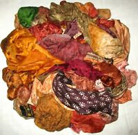 LOT PURE SILK Antique Vintage Sari REMNANT Fabrics 100 GRAMS Brown Quilt #ABIDU