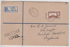 ST LUCIA GVI 1938 REGISTERED FDC cover to UK