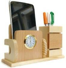 Wooden Pen Holder with Watch Visiting Card Holder