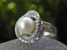 9mm White Pearl, CZ's & 925 Silver Adjustable Ring (Size 7-9, L 1/2 - P 1/2)