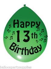 "10 x 11"" Balloons printed ""13th Birthday"" Asstd Colours"