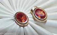 14K .50ct Citrine Oval Stud Post Earrings Yellow Gold Vintage