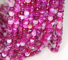 6MM CHERRY AGATE GEMSTONE PINK FUCHSIA SWIRL FACETED ROUND 6MM LOOSE BEADS 15""