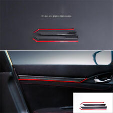 8PCS Carbon Fiber Interior Door Trim Decals Cover For Honda Civic 10th 2016 2017