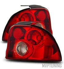 For 95-99 Dodge Neon Left+Right Euro Red Clear Tail Lights Rear Brake Lamps
