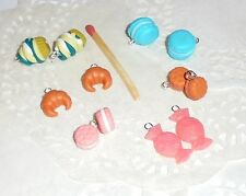 12 Breloques Fimo macarons cupcake croissant lot fabrication bijoux scrapbooking