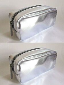 2 x bareMinerals Metallic Silver Faux Leather Top Zip Small Cosmetic Bag Lot