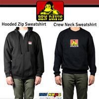 Ben Davis Men's Hoodie Sweatshirt Gorilla Logo Crew-neck Pullover Zipper Black