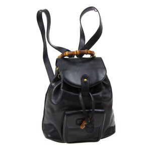 GUCCI Bamboo Line Backpack Hand Bag 003.1705.0030 Purse Black Leather AK37951g